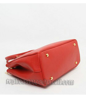 Prada Saffiano Red Cross Veins Leather Tote Small Bag-4