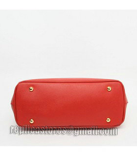 Prada Saffiano Red Cross Veins Leather Tote Small Bag-5