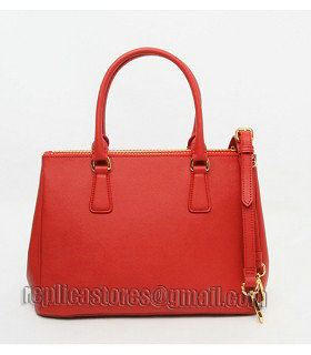Prada Saffiano Red Cross Veins Leather Tote Small Bag-6