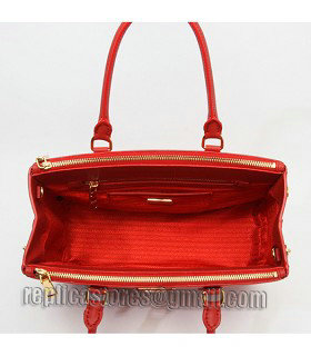Prada Saffiano Red Cross Veins Leather Tote Small Bag-7