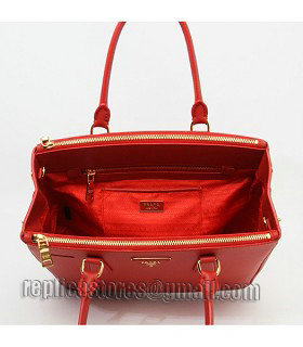Prada Saffiano Red Cross Veins Leather Tote Small Bag-8