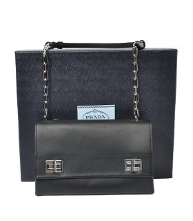 Prada Black Original Soft Oil Leather Double Flap Shoulder Bag With Metal Chains