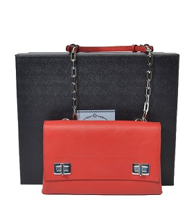 Prada Red Original Soft Oil Leather Double Flap Shoulder Bag With Metal Chains