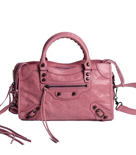 Balenciaga Imported Leather Motorcycle Bag in Pink