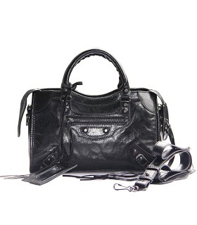Balenciaga Imported Leather Motorcycle Bag in Black