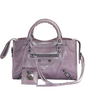 Balenciaga Imported Leather Motorcycle Bag in Eggplant Purple