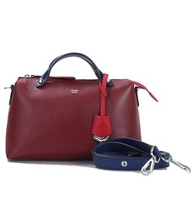 Fendi By The Way Original Leather Small Tote Shoulder Bag Cherry Tree RedBlueCoral Red