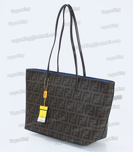 Fendi FF Waterproof With Blue Leather Small Shopper Tote Bag-1