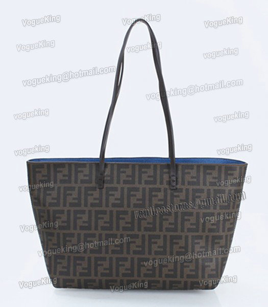 Fendi FF Waterproof With Blue Leather Small Shopper Tote Bag-2
