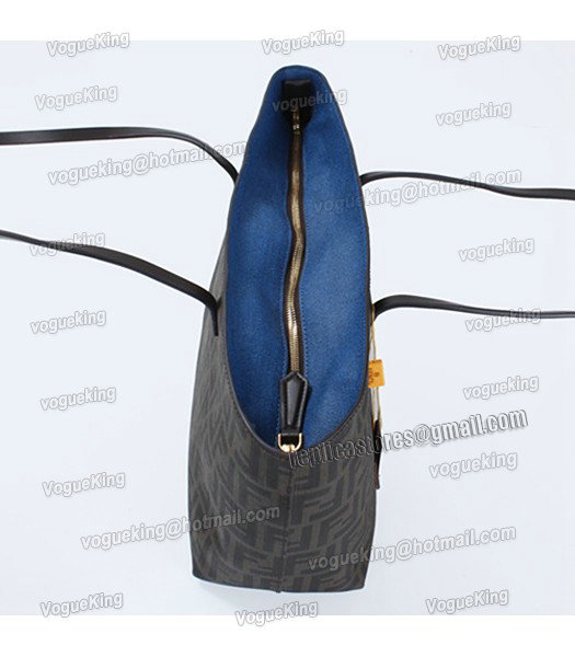 Fendi FF Waterproof With Blue Leather Small Shopper Tote Bag-3