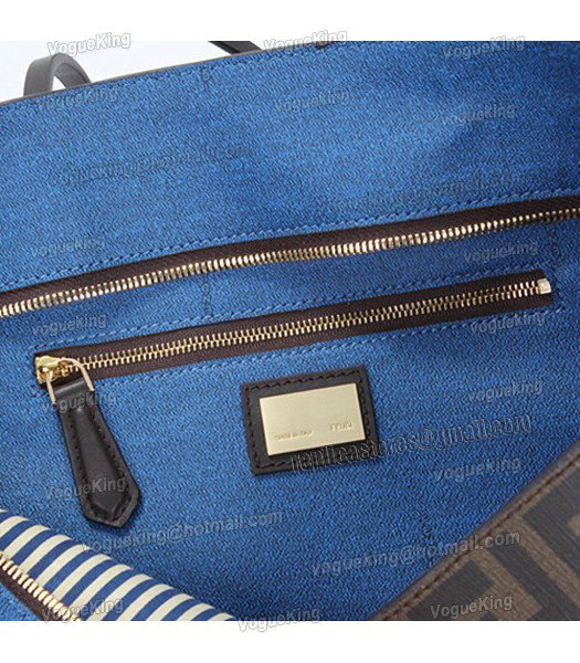 Fendi FF Waterproof With Blue Leather Small Shopper Tote Bag-4
