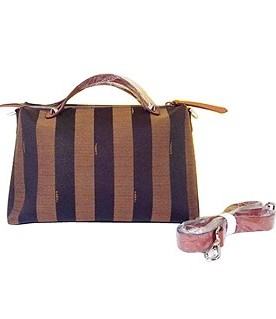 Fendi By The Way Stripe Fabric With Cyan Leather Tote Shoulder Bag