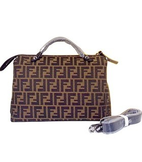 Fendi By The Way FF Fabric With Black Leather Tote Shoulder Bag
