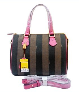 Fendi Classic Boston Bag in Stripe Fabric With Watermelon Red Leather