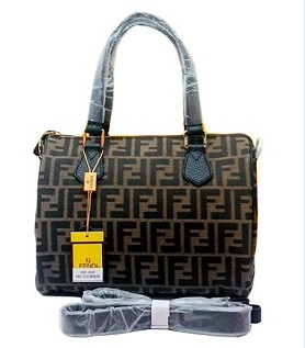 Fendi Classic Boston Bag in FF Fabric With Black Leather