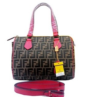 Fendi Classic Boston Bag in FF Fabric With Watermelon Red Leather