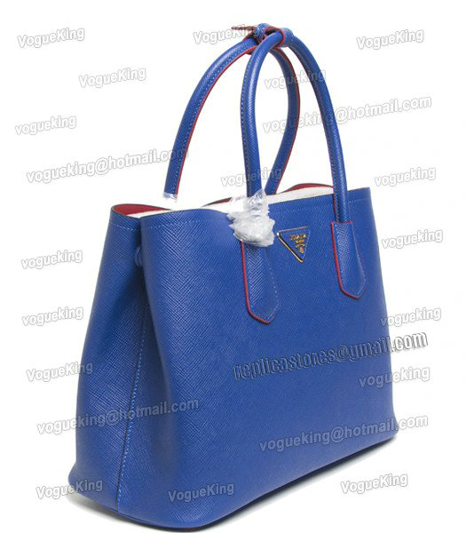 e1b086b7b3 ... spain prada saffiano cuir small double bag in electric blue cross veins  leather 1 dfdc7 85812