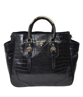 fba34dbe0c Prada Vitello Daino Tote Bag Black Croc Viens Orininal Leather ...
