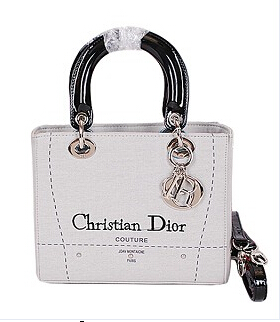 Christian Dior Cruise Grey Original Canvas With Leather Lady Dior Bag