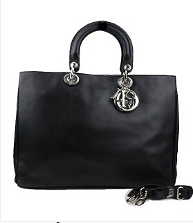 Christian Dior 33cm Diorissimo Bag In Black Leather