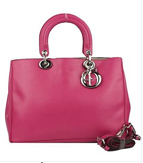 Christian Dior 33cm Diorissimo Bag In Plum Red Leather