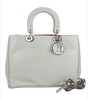Christian Dior 33cm Diorissimo Bag In Grey Leather