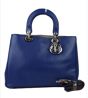 Christian Dior 33cm Diorissimo Bag In Sapphire Blue Leather
