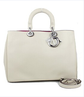 Christian Dior 33cm Diorissimo Bag In Offwhite Leather