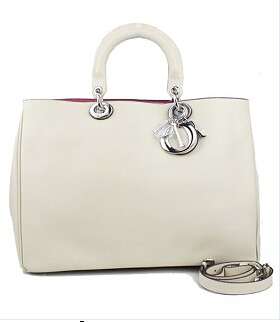 Christian Dior 40cm Diorissimo Bag Offwhite Leather Silver Metal