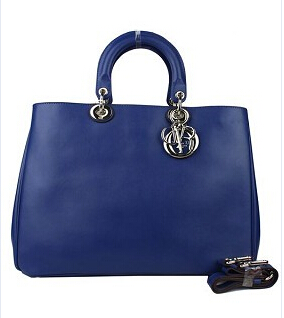 Christian Dior 40cm Diorissimo Bag Sapphire Blue Leather Silver Metal