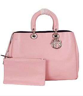 Christian Dior 40cm Diorissimo Bag Pink Leather Silver Metal