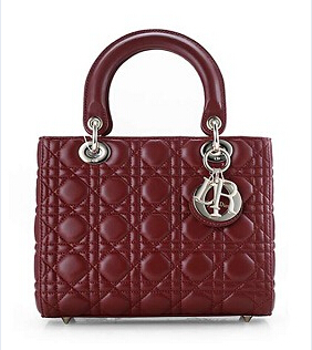 Christian Dior Original Leather 24cm Tote Bag Wine Red Golden Metal