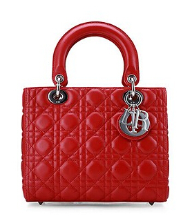 Christian Dior Original Leather 24cm Tote Bag Red Silver Metal