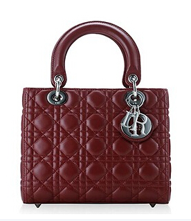 Christian Dior Original Leather 24cm Tote Bag Wine Red Silver Metal