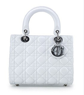 Christian Dior Original Leather 24cm Tote Bag White Silver Metal