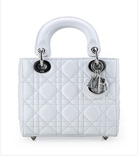 Christian Dior Original Leather 18cm Tote Bag White Silver Metal