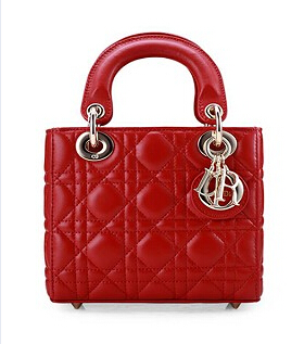 Christian Dior Original Leather 18cm Tote Bag Red Golden Metal