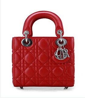 Christian Dior Original Leather 18cm Tote Bag Red Silver Metal