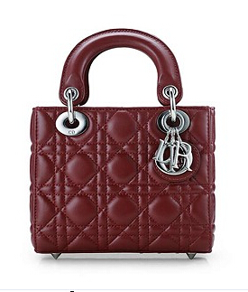 Christian Dior Original Leather 18cm Tote Bag Wine Red Silver Metal