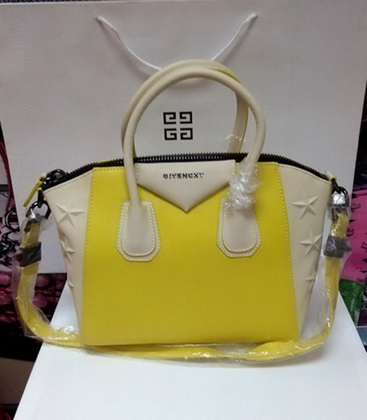 Givenchy Antigona Star Lemon Yellow With Offwhite Leather Bag