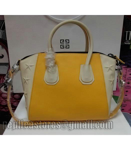 Givenchy Antigona Star Yellow With Offwhite Leather Bag_2