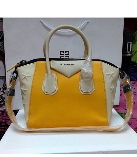 Givenchy Antigona Star Yellow With Offwhite Leather Bag