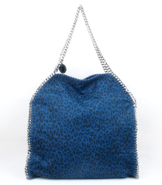 Stella McCartney Falabella Leopard Pattern PVC Fold Over Large Tote Bag Blue