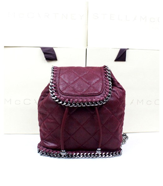 Stella McCartney Falabella Mini Quitled Backpack Bag Wine Red