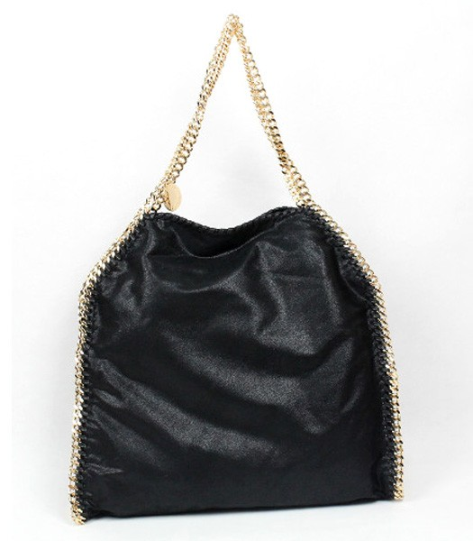 Stella McCartney Falabella PVC Fold Over Black Large Tote Bag Golden Chain
