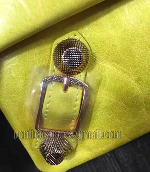 Balenciaga Classic Oil Wax Leather Clutch Mustard Yellow-1
