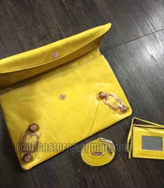 Balenciaga Classic Oil Wax Leather Clutch Mustard Yellow-2