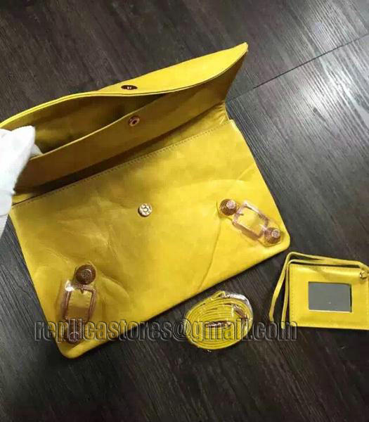 Balenciaga Classic Oil Wax Leather Clutch Mustard Yellow-4
