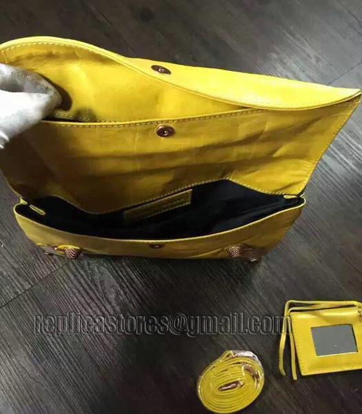 Balenciaga Classic Oil Wax Leather Clutch Mustard Yellow-5