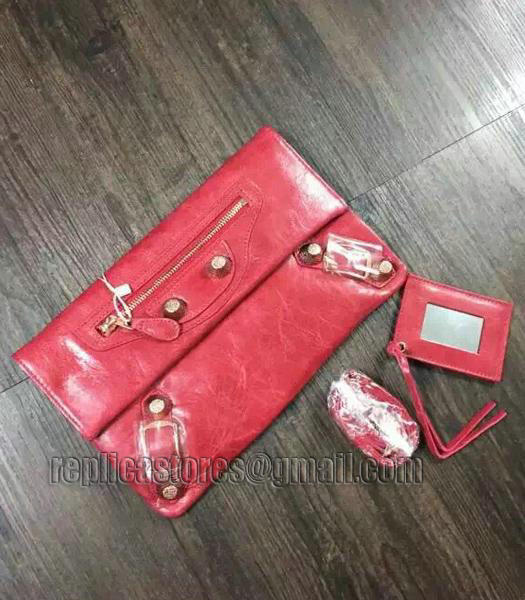 Balenciaga Classic Oil Wax Leather Clutch Peach Red-1